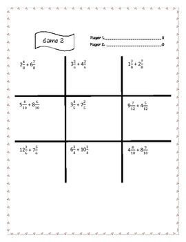 Adding Mixed Numbers with Like Denominators Tic-Tac-Toe
