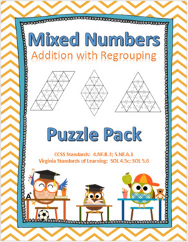 Adding Mixed Numbers with Regrouping Puzzle Pack