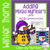 Adding Mixed Numbers with Unlike Denominators Color by Number-Winter Theme