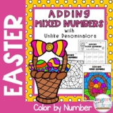 Adding Mixed Numbers with Unlike Denominators: Easter Color by Number