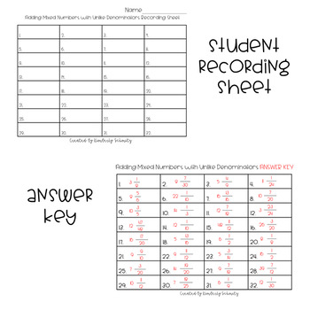 Adding Mixed Numbers with Unlike Denominators QR Task Cards
