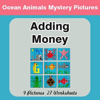 Adding Money - Color-By-Number Math Mystery Pictures