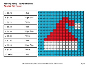Adding Money - Color-By-Number Christmas Mystery Pictures