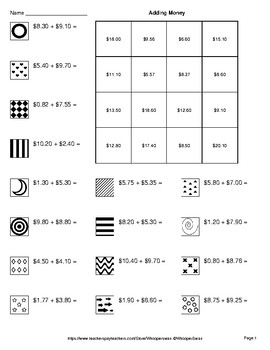 Adding Money - Coloring Pages   Doodle Art Math