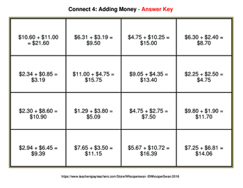 Adding Money - Connect 4 Game