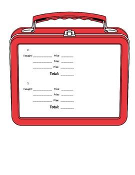 Adding Money Lunchbox Activity