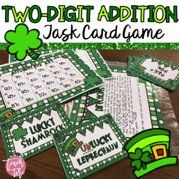 St. Patrick's Day Math Centers Addition Task Card Game