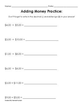 Adding Money Practice