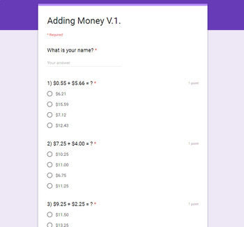 Adding Money Quiz  (Google Forms)