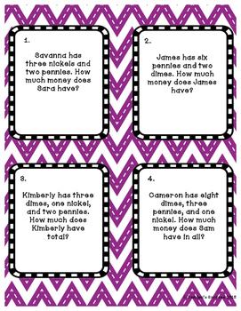 Adding Money Task Cards Sample