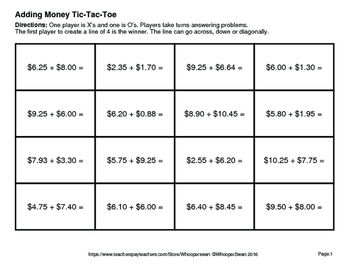 Adding Money Tic-Tac-Toe