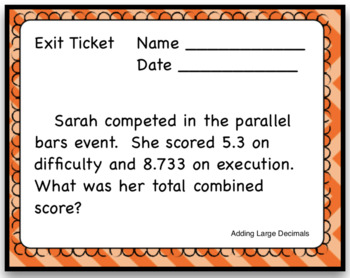 Adding Large Decimals Word Problem Differentiated Task Cards with Exit Ticket