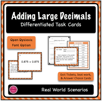 Adding Large Decimals Word Problem Differentiated Task Car