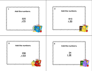 Adding Multi-Digit Numbers- CCSS 4.NBT.B.4-Task Cards and Scoot-Grade 4