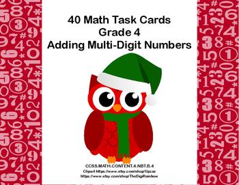 Adding Multi-Digit Numbers- CCSS 4.NBT.B.4-Task Cards-Chri