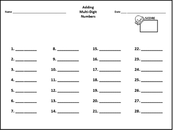 Adding Multi-Digit Numbers Task Cards