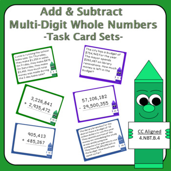 Adding Multi-Digit Whole Numbers 4th Grade Task Cards