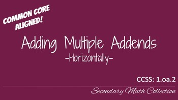 Adding Multiple Numbers Horizontally