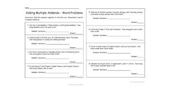 1st Grade Adding Multiple Addends Word Problems Worksheet CCSS 1.oa.2