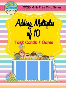 Summer Themed Adding Multiples of 10 Task Cards & Game 1.NBT.4