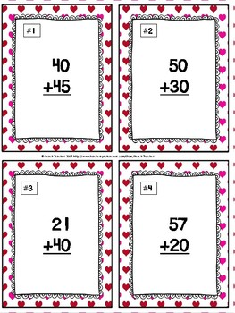 February Themed Adding Multiples of 10 Task Cards & Game