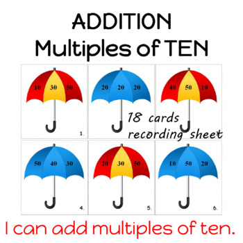 Addition   Adding Tens with Answer Key
