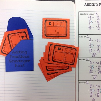 Adding Negative Fractions Scavenger Hunt OR Interactive Notebook  7.NS.A.1