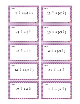Adding Negative Mixed Numbers Game