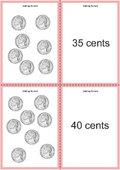 Adding Nickels Matching Cards