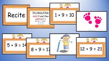 Adding Nine Addition Facts Mental Maths Game, Brain Break or Maths Warm Up
