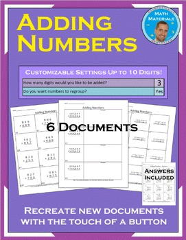 Adding Numbers: Customize Regrouping and The Number of Digits
