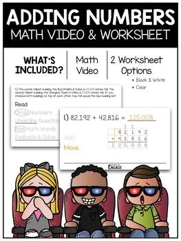 Adding Numbers Math Video & Worksheet