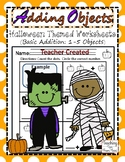 Adding Objects (1 - 5 Objects) | Halloween Themed Worksheets