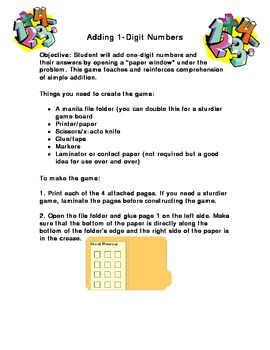 Adding One Digit Numbers-A Fun File Folder Game (Grades k-1)