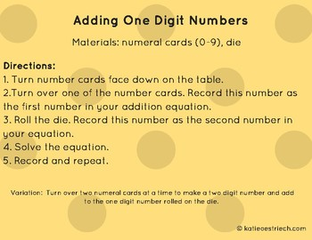 Adding One Digit Numbers (Folder Game)
