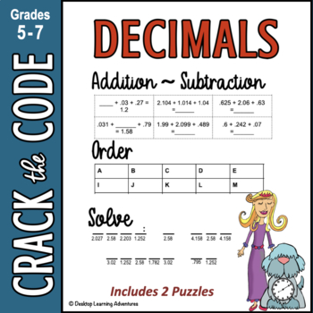 Decimals: Adding, Subtracting & Ordering to Thousandths ~ Crack the Code!