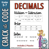 Decimals : Adding, Subtracting & Ordering to Thousandths - Crack the Code