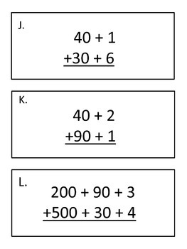 Adding Partial Sums Scavenger Hunt (Using Expanded Form to Add)