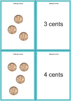 Adding Pennies Matching Cards