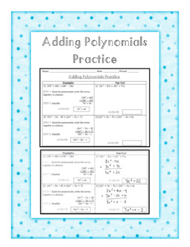 Adding Polynomials Dominoes