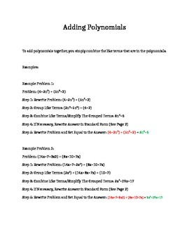 Adding Polynomials Guided Learning Packet