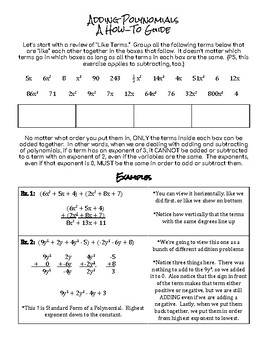 Adding Polynomials:  Guided Notes Worksheet and Practice Problems Worksheet