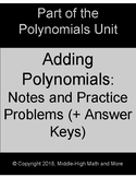 Adding Polynomials:  Guided Notes Worksheet and Practice P