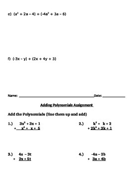 Adding Polynomials Notes and Assignments