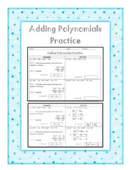 Adding Polynomials Practice