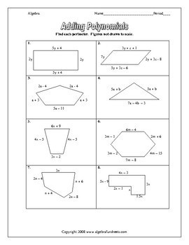 adding and subtracting polynomials worksheets - Adding Polynomials Worksheet