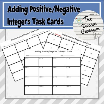 Adding Positive/Negative Integers Task Card + 2 Additional Activities