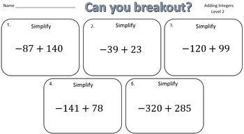 Adding Positive & Negative Integers – Two Breakout Activities!