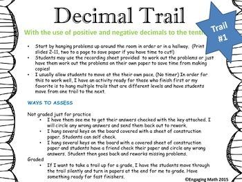 Adding Positive and Negative Decimals (Trail Bundle - 3 leveled trails)