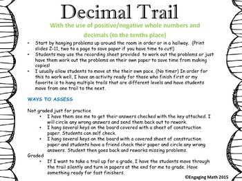 Adding Positive and Negative Decimals Trail B (decimals to the tenths place)